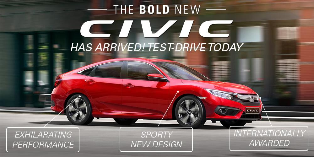 The 2016 Honda Civic has arrived at Col Crawford Motors